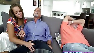 Step dad sleeping while daughter bangs his friend mature old cock after he takes a viagra