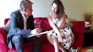 A Hot Mature Lady Seducing Businessman Trying To Sell Her Something She Doesnt Need