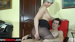 Awesome milf in control top pantyhose provokes a guy into mighty dicking