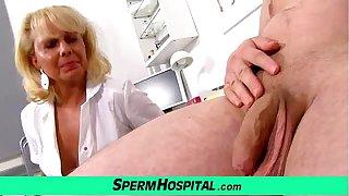 A boy gets handjob healthcare from dirty milf doctor Koko