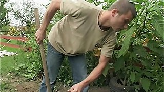 European mom makes her young gardener her sex boy toy