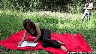 The great outdoors wets grandma's appetite for cock and cum