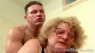 Sexy granny with big tits exposed