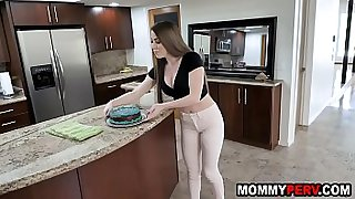 Hot milf mom taking care of jailbird son's cock behind dad's back
