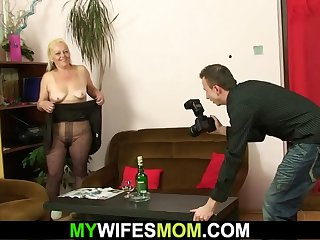 Hairy pussy motherinlaw gets naked and rides cock